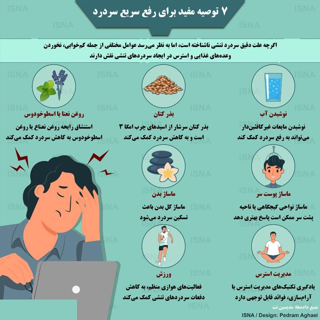 اینفوگرافی / هفت توصیه مفید برای رفع سریع سردرد